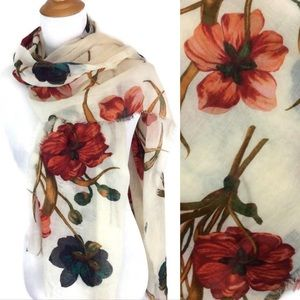 Floral Print on Cream Gauze Accent Scarf